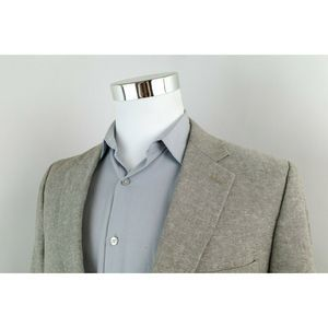 Stafford Beige Linen Cotton Sport Coat Blazer 42S